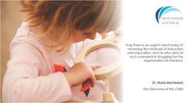 Maria Montessori quote with child image