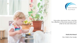 Young child washing up in Montessori classroom
