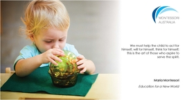 Young child pouring beads into bowls in a Montessori classroom